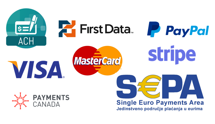 ach payments and credit card payments in sap,quickbooks,JDE : list of credit card processors