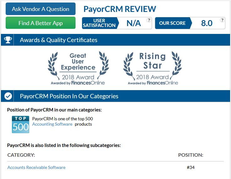 Screenshot of Awards bestowed on PayorCRM under Accounts Receivable Software category