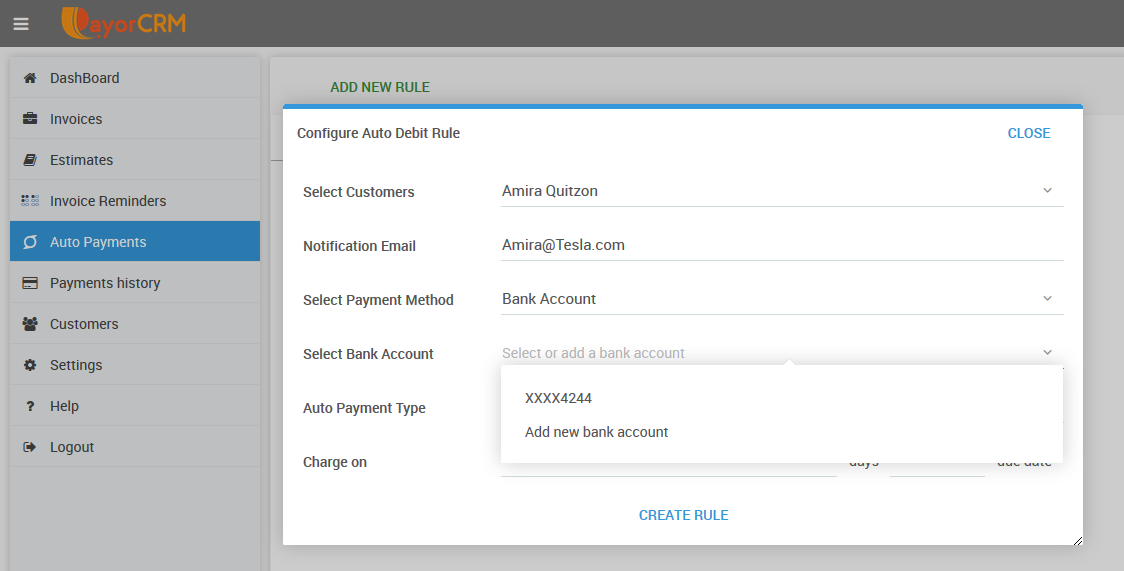 Setting up recurring ACH payments on PayorCRM