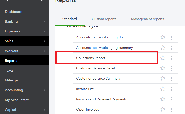 QuickBooks collections report